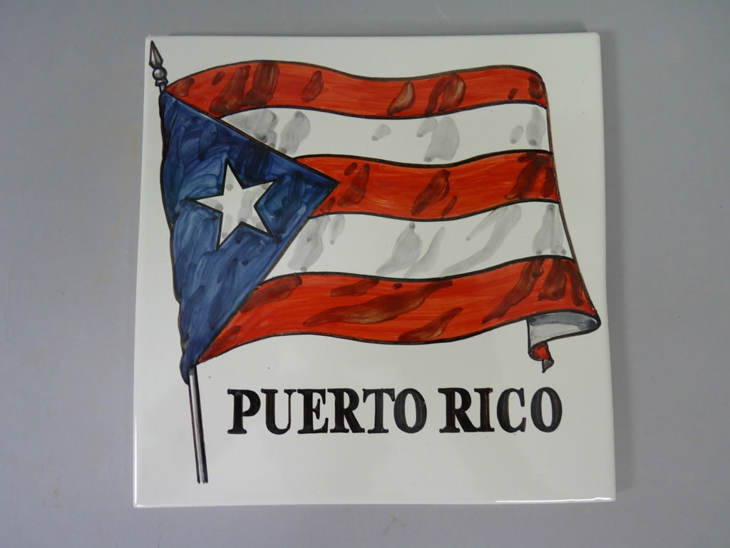 Azulejo De Ceramica Bandera Puerto Rico Ceramicas Claur